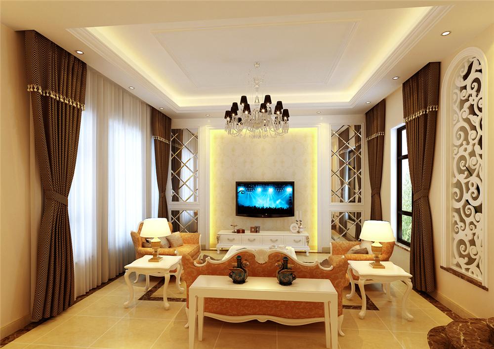 欧式 别墅 收纳 白领 80后 小资 客厅图片来自实创装饰完美家装在潮白河孔雀城200平简欧风格赏析的分享