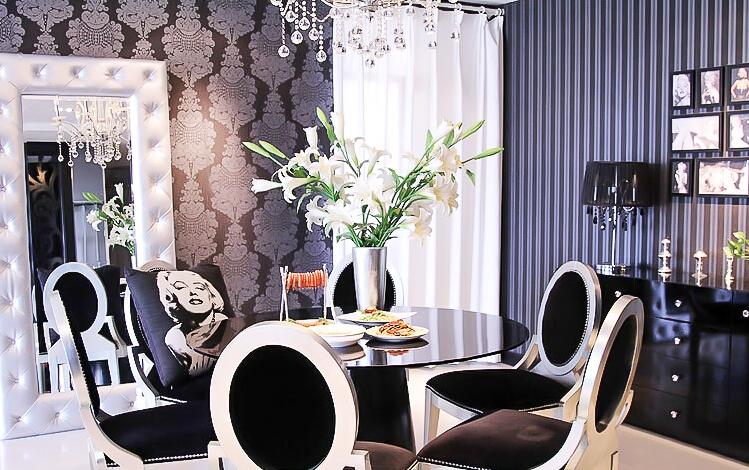 新古典风格 四居室装修 原木家具 环保材料 164㎡装修 实用收纳 餐厅图片来自居佳祥和装饰在异类黑色164㎡黑色新古典装修的分享