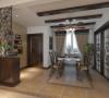 餐厅的设计延续着美式风格韵味,一盏风扇吊灯,配合实木作梁起到画龙点睛的一笔。