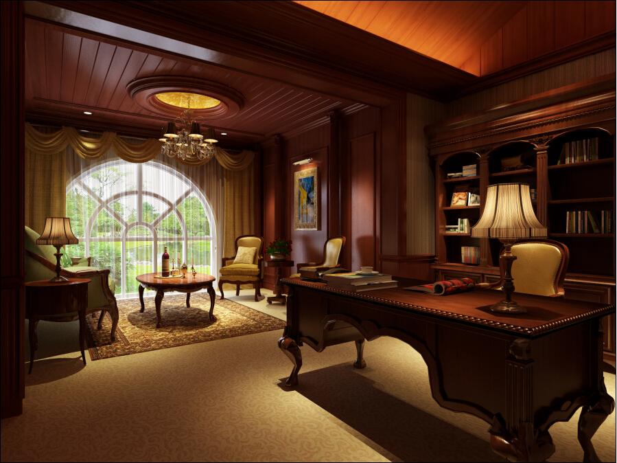 欧式 别墅 新古典 书房图片来自一级-装家兵在领秀别墅的分享