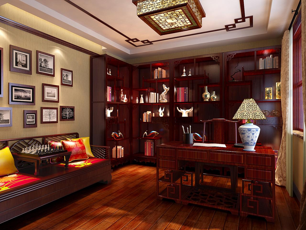 白领 三居 小资 80后 旧房改造 混搭 书房图片来自元洲装饰小左在领秀慧谷140平米美式设计的分享