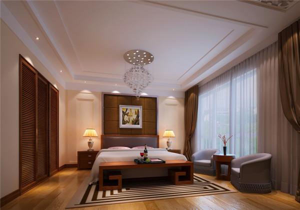 卧室作为业主休息的场所,不需要过多的装饰,浅色和木本色的运用有一种回归大自然的舒适与恬静。 亮点:大面积的落地窗配上素白的纱帘,轻巧浪漫,绝佳的采光让卧室中的下午茶时光更加惬意美好。