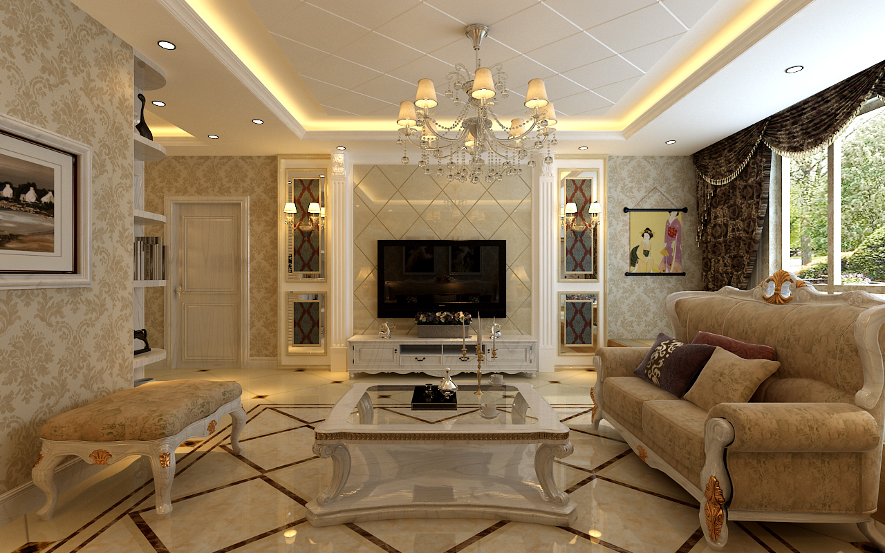 小资 80后 白领 三居 欧式 客厅图片来自元洲装饰小左在龙湖时代天街130平米简欧风格的分享