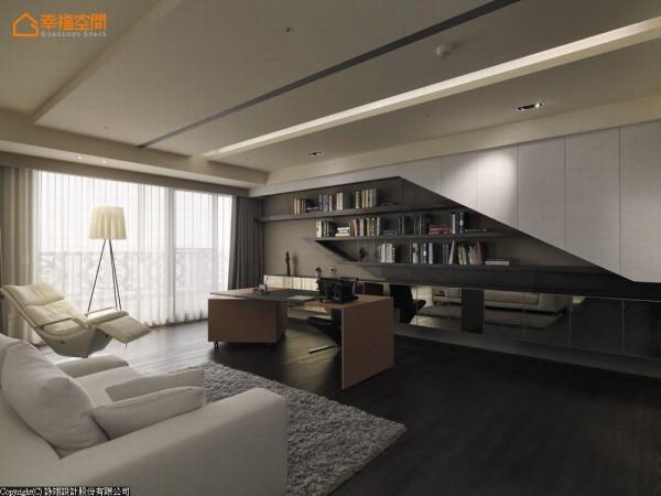 于客厅斜向收纳柜的后方,同样的裁切与镜面元素应用在收纳的造型修饰上,成为空间景致。
