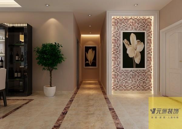 客厅:客厅以布艺沙发为主,配以浅咖色软包和墙面,电视墙采用镜面和石材的配合,显得洁净优雅。