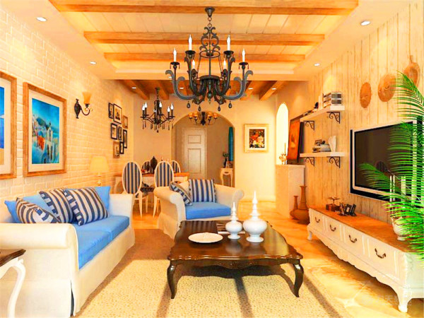 电视柜采用白色混油柜体和米黄色木制柜面,壁挂液晶电视,吊顶采用木制拉缝和木制假梁,烛灯采用大型水晶吊灯
