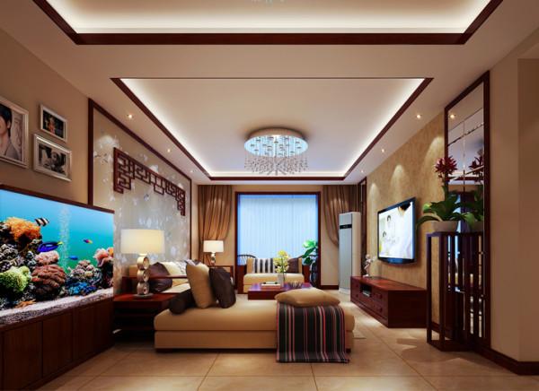 亮点:中式花格和壁纸的点缀做为沙发背景,为客厅增加了气势,整体色调以浅色为主,深色为点缀色,电视背景以小部分的菱形镜面做为装饰,使得整个空间更明亮,与之相呼应的吊顶在空间分割更为明确。