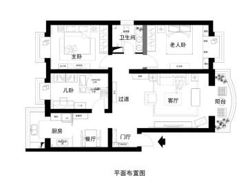 梧桐院118平米三居室简约中式