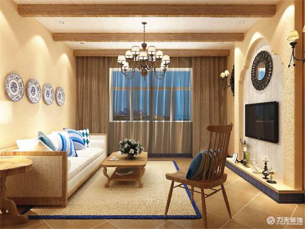 客厅采用了工艺性的吊顶,蓝色瓷砖的踢脚线以及斜铺的地砖使整个房间看起来更有层次感,电视沙发背景墙做出了凹凸的感觉,加上电视背景墙边上的壁灯及镜子,更加突出了地中海的风格。