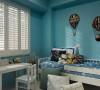 蓝色的墙面,蓝色的家居,给人梦幻的海底世界感觉,儿童房的童真凸显