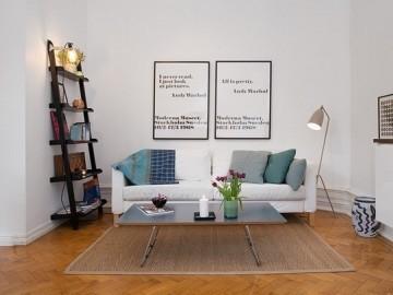 43平米瑞典公寓空间小也有大吧台