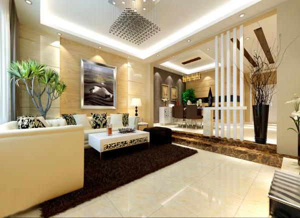【成都实创装饰】卓锦城—loft 复式 —现代简约风格—整体家装—客厅装修效果图 石材背景墙 在北京墙上米黄色大理石墙面配以白色的木作雕花,虽然一整面的理石墙面,但是搭配上镂空的雕花图案,不会显得很突兀。