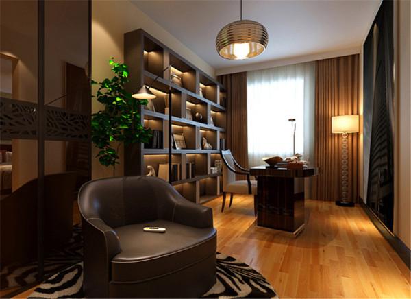 透过简单不做作的光影来影射木质的安定与温暖,让冷硬的空间变成温馨的家。 亮点:利用简洁的灯光和自然光的结合加上有秩序的书柜展示了书房的冷静与沉稳。