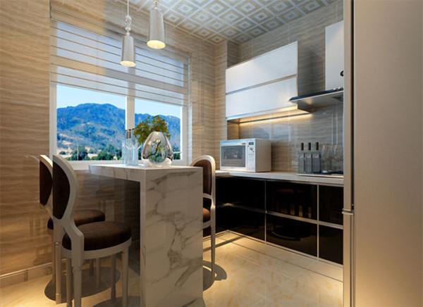 带有餐厅整体厨房,解决餐厅空间功能缺少的问题,采用L型橱柜,在转角处增加一个吧台式台面,既能起到餐桌的作用,也能充当操作台和吧台,在5平米的厨房内,合理利用空间,增加其功能性。