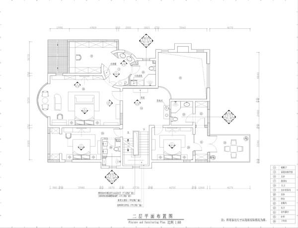 西山林语新中式风格独栋别墅二层平米布置图
