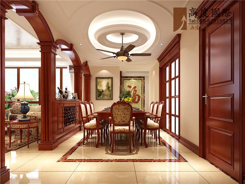 公寓 新中式 餐厅图片来自成都高度国际别墅装饰在中西风格案例的分享