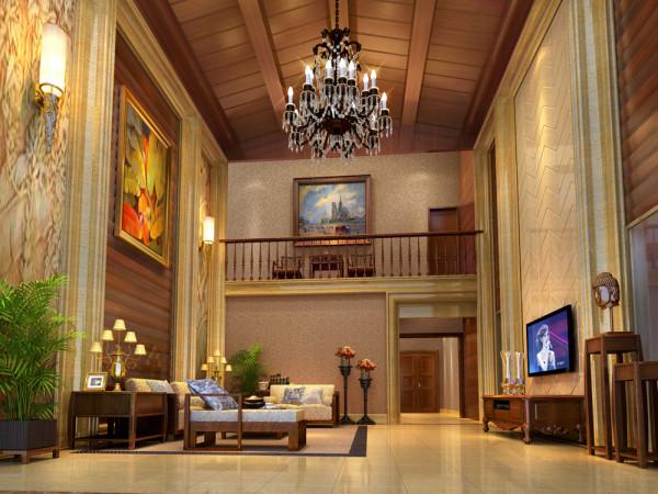 客厅采用大理石与木纹纹理相结合,配以古典的家居打破中式装修风格的沉闷。