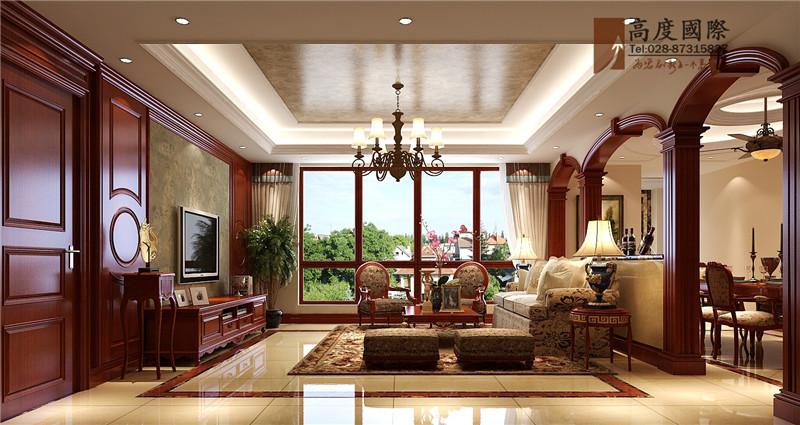 公寓 新中式 客厅图片来自成都高度国际别墅装饰在中西风格案例的分享