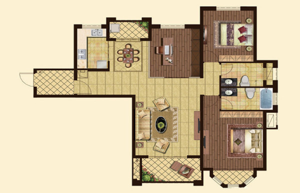 怡丰森林湖135平方三室两厅户型图