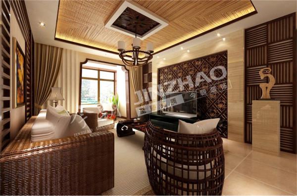 【设计说明】:客厅得以大气优雅为主,在造型上,墙面木装饰与金属、金属结合的装饰造型,以冷静线条分割空间,代替一切繁杂与装饰。