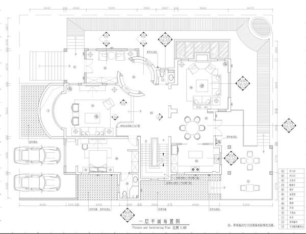 西山林语新中式风格独栋别墅一层平米布置图