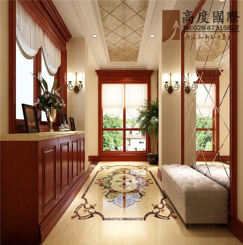 公寓 新中式 玄关图片来自成都高度国际别墅装饰在中西风格案例的分享
