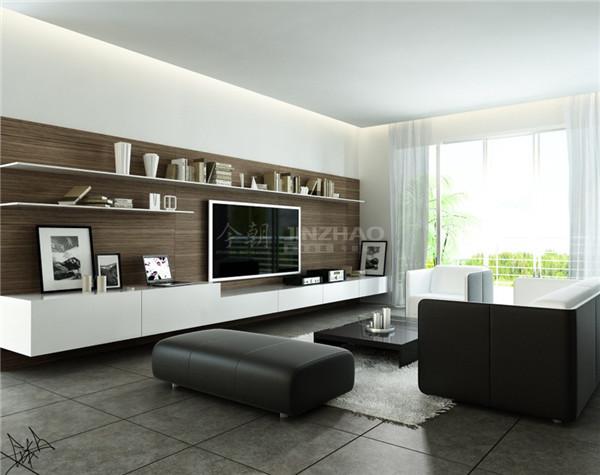 客厅布置简单直接,电视背景墙上添加了储物功能,实用性很强,简单的黑白灰配色反而更加别致,十分有质感。