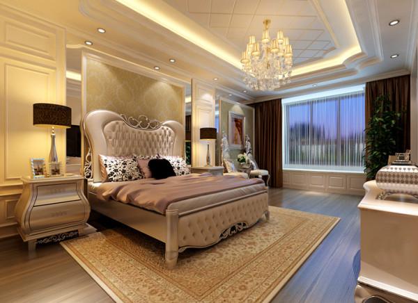 【成都实创装饰】复式—loft 简欧风格—整体家装—卧室装修效果图 吊顶 采用大量的护墙板设计,镜面与灯带相呼应。