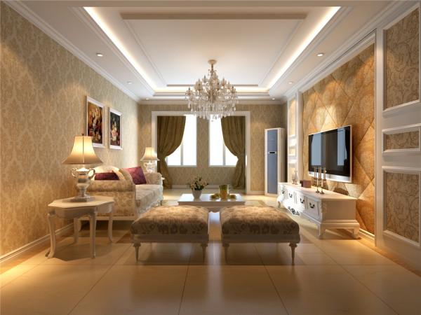 本案设计为简欧风格,宽敞舒适的客厅配合深色地板卓显稳健,米黄色花纹壁纸的使用使空间变得柔和。.欧式的灯池吊顶和地面家具相互呼应,相得益彰。卧室中运用了实木的特有色彩和碎花的沙发使整体空间温馨气氛十足。