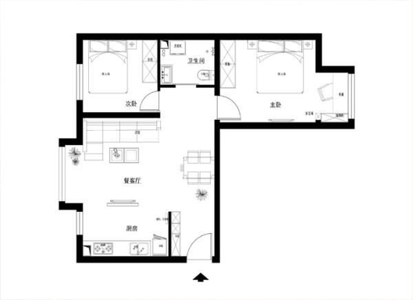 现代简约为主题,适合于30岁左右的三口之家居住,加上现代的设计元素在里面。相互结合,相互交融。简洁明快的设计风格为主调,简洁和实用。