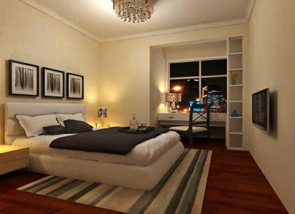 宁静的卧室,整体色调采用暖黄色,整个房间营造温暖安逸的氛围,使主人每天忙碌之后,可以得到全身心的放松。