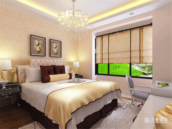 卧室整体温馨舒适,床头背景同样用挂画和壁纸的表现形式,配以白色的家具加上一个较大的窗户从而使充足的采光使床头增加活力。让卧室更加魅力。