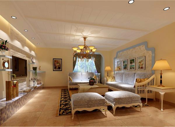 【成都实创装饰】光华逸家—地中海田园风格—整体家装—客厅装修效果图 沙发背景墙 沙发背景墙则采用简洁的钩边设计,中间选择贴业主喜欢的壁纸。