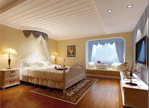 【成都实创装饰】光华逸家—地中海田园风格—整体家装—卧室装修效果图 休闲区  主卧室的床是典型的地中海风格,床幔的设计更加符合新房的设计感