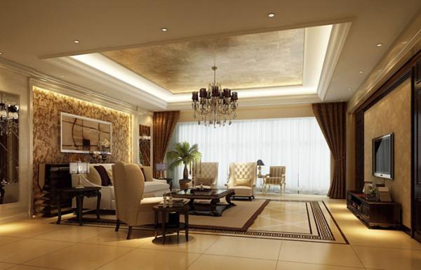 在造型上,现代欧式风格以精美的地面铺装设计为起点,向上延伸到舒适温暖的软装背景与精美石材装饰的墙面直至现代大气的欧式风格吊顶,使整个空间浑然一体,在视觉上延伸了空间,增强了空间的趣味性与层次感。