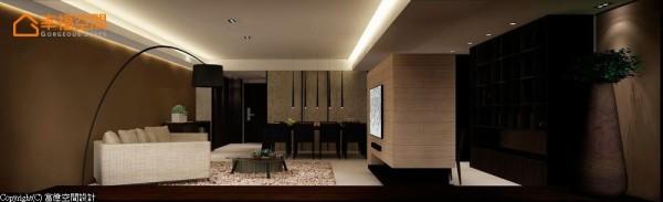 勾勒空间的简约特性,设计师将电视背墙结合后方的书柜,并视为同一量体,以上下悬空的方式营造轻盈感。 (此为3D合成示意图)