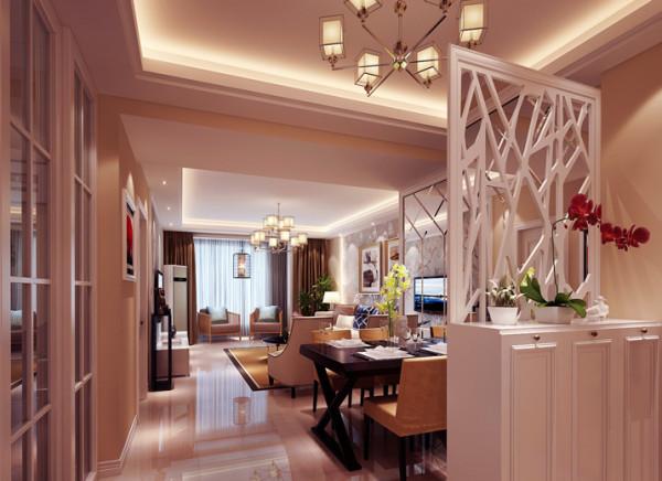 设计理念:餐客厅在结构上没有改动,设计师主要把亮点用在配色及沙发背景造型墙面上,沙发背景墙暗藏灯带,局部用壁纸做为装饰,更烘托氛围