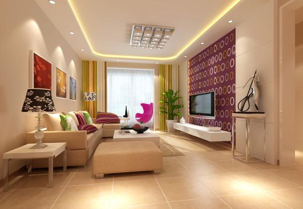 为了更好的利用空间,设计师根据功能分区把客厅分成了三个区域,即玄关、餐厅、客厅,在分割上运用了珠帘、植物、壁画等多种方式,