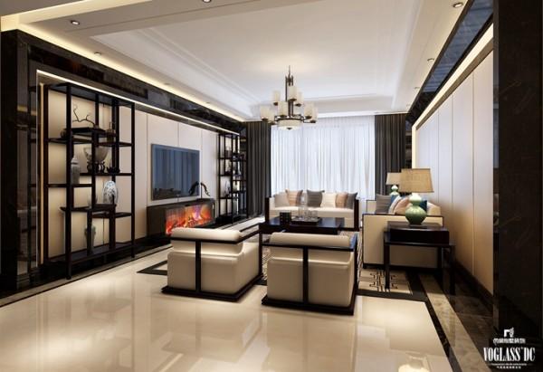依旧是白灰色的主色调,线条简单清晰,沙发的样子可以很明显的看出是古代的圈椅融合现代的装饰特点变换而成,博古架也利用现行的制作工艺仿制木质的纹理而成,新型材质和软装创意成为这套别墅装修设计中的亮点之一。