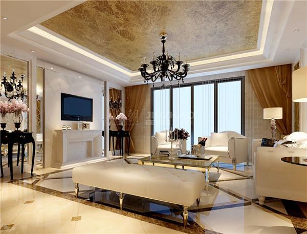 客厅用色简单但沉稳大气,细节处理有很多欧式的精美花纹,华丽的吊灯和白色皮质沙发的选择让整体空间氛围十分华贵优雅。