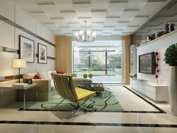 设计理念:在整个的设计过程中,以简约作为基调,米色的沙发与硬包结合,再配以咖色的镜面作为点缀的线条,简约大气不失时尚。 亮点:电视墙用石膏板与饰面板相结合符合简约的风格,其中略夹杂着以下小清新的气氛。