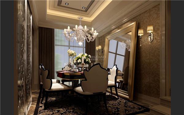 整间房间主题色为深色调,给人低调的华丽感。