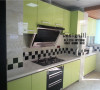 厨房10*10小砖腰线铺贴,橱柜安装