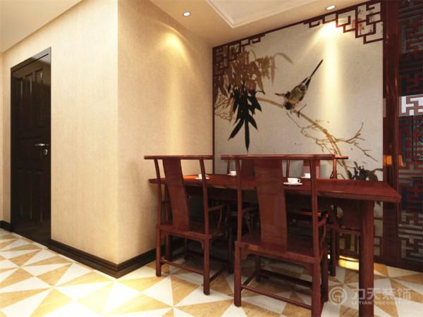 就餐区域的背景以一副花鸟画为背景,把传统的中式形式通过重新设计组合以另一种民族特色的标志符号出现。餐桌椅采用了明显的中式风格家具,造型合理,线条简洁。淳朴、稳重感油然而生。