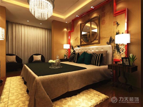 卧室地板采用了深棕色的强化复合地板,床的背景墙采用了山水画为背景,加上红色边框做点缀。