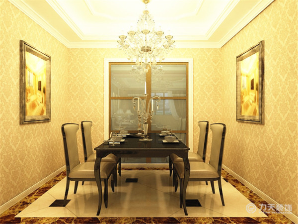 餐厅,餐厅吊顶我采用石膏线堆叠、拼接而成,加以水晶灯装饰,彰显高贵、大气。其次墙面采用欧式壁纸。餐桌椅放在了中间。过道我采用的是石膏线加茶镜,很是大气