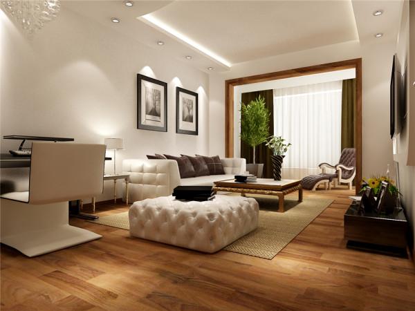 该户型客厅地板采用瑞士卢森地板,既大气又容易清洗,优点是,耐磨并可供地暖使用,而且地板地面会在视觉上夸大客厅面积,使本来不大的空间得到延伸和扩展。选择白色布艺沙发,与棕色的地板相衬托。