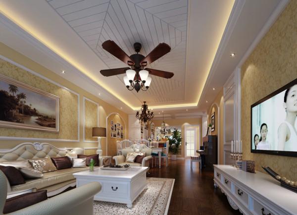 设计理念: 现代欧式的客厅有的不只是豪华大气,更多的是惬意和浪漫。通过完美的曲线,精益求精的细节处理,带给家人不尽的舒服触感,实际上和谐是欧式风格的最高境界。