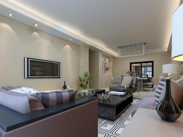 客厅采用回字形吊顶加暗藏灯带增加客厅空间造型感。
