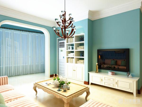 客厅采用白色乳胶漆顶和深蓝浅蓝交叉搭配壁纸营造温馨柔和的感觉,柔软的抱枕,使空间雅致、干净、大气,在温暖的的灯光下享受休憩的时光